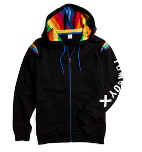 French Terry Zip Up Hoodie - Black with Rainbow-Loungewear-TomboyX