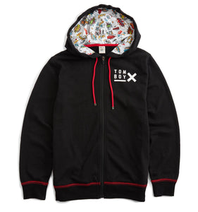 French Terry Zip Up Hoodie - TomboyX Black with Kapow!-Loungewear-TomboyX