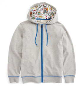 French Terry Zip Up Hoodie - Grey with Kapow!-Loungewear-TomboyX