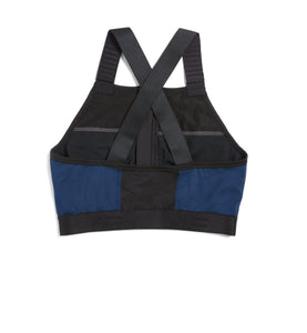 Exclusive: Swim Halter Zip Top - Grey with Navy & Black-Swim-TomboyX