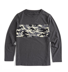 Long Sleeve Pajama Top - Charcoal with Black Camo-Sleepwear-TomboyX