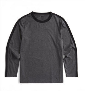 Long Sleeve Pajama Top - Charcoal with Black-Sleepwear-TomboyX