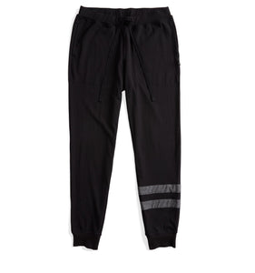 Pajama Jogger - Black with Charcoal Leg Stripes-Sleepwear-TomboyX
