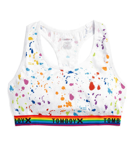 Exclusive: Racerback Soft Bra - Paint the Rainbow Print-Bra-TomboyX