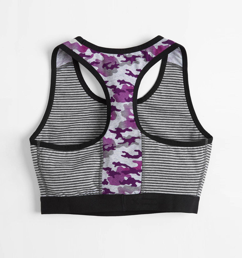 Racerback Soft Bra - Charcoal & Grey Stripes with Purple Camo-TomboyX