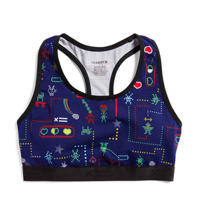 Exclusive: Racerback Soft Bra - Arcade Hero Print-Bra-TomboyX