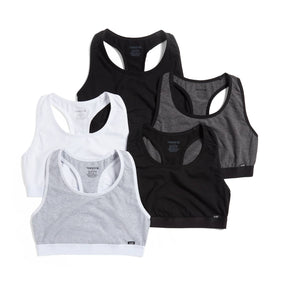 Exclusive: 5 Pack Racerback Soft Bra - Monochrome-5 Pack-TomboyX