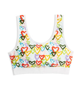 Essentials Soft Bra - Rainbow Hearts Print-Bra-TomboyX
