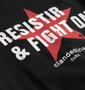 Resistir & Fight On Tee by Clandestina - Black-T-shirt-TomboyX
