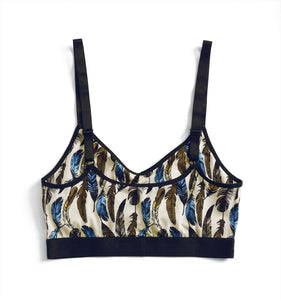 Ruched Bralette - Feathers Print-Bra-TomboyX