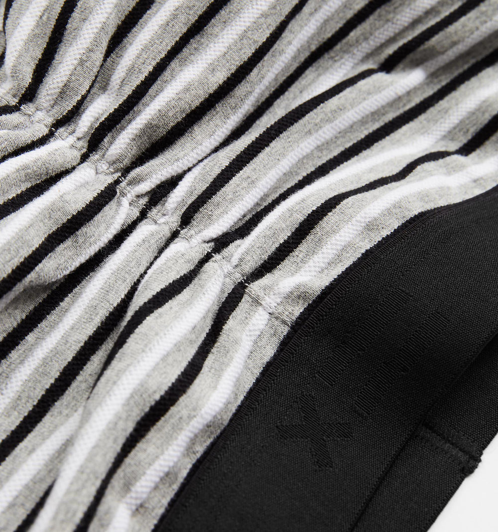 Ruched Bralette - Piqué White, Black & Grey Stripes-TomboyX