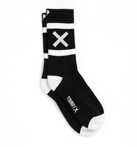 Crew Socks - X Marks the Spot Black-Socks-TomboyX