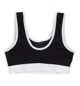 Soft Sports Bra LC - Active Drirelease® Black With White Trim-Bra-TomboyX