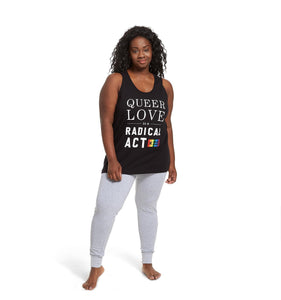 Racerback Tank - Queer Love is a Radical Act Black-Tank Tops-TomboyX