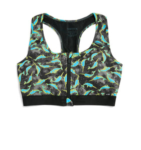 Exclusive: Swim Racerback Zip Top - Neon Narwhal Print-Swim-TomboyX