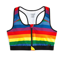 Exclusive: Swim Racerback Zip Top - Rainbow Pride Stripe-Swim-TomboyX