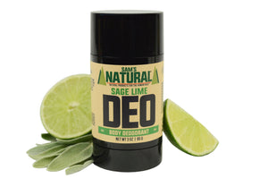 Aluminum Free, Chemical Free Sage Lime Scented Natural Deodorant