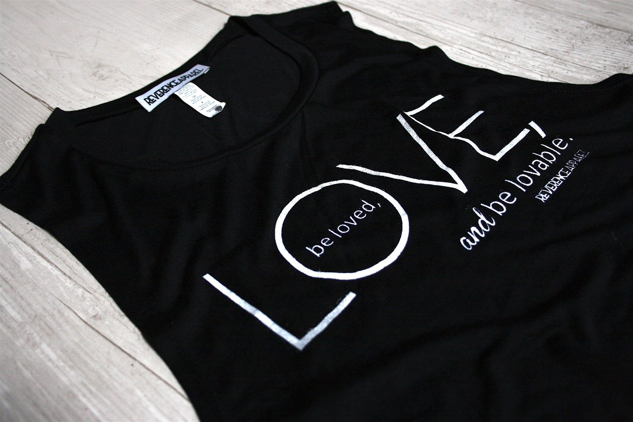 LOVE, BE LOVED, BE LOVABLE SLEEVELESS MUSCLE TANK TOP REVERENCE APPAREL
