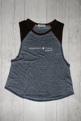 MANIFEST AND CHILL RAGLAN MUSCLE TANK REVERENCE APPAREL