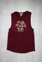 NAMASTE SLEEVELES GRAPHIC MUSCLE TEE REVERENCE APPAREL