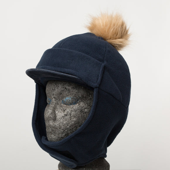 Riding Hat / Face Cover - FAUX FUR POMPOM