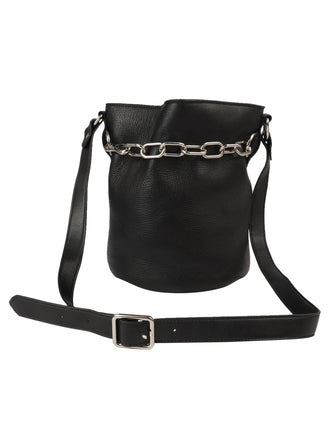 Large Chain Bucket Leather Bag
