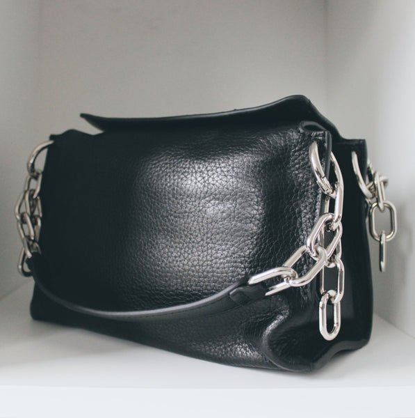 Chain and Magnet Leather Bag