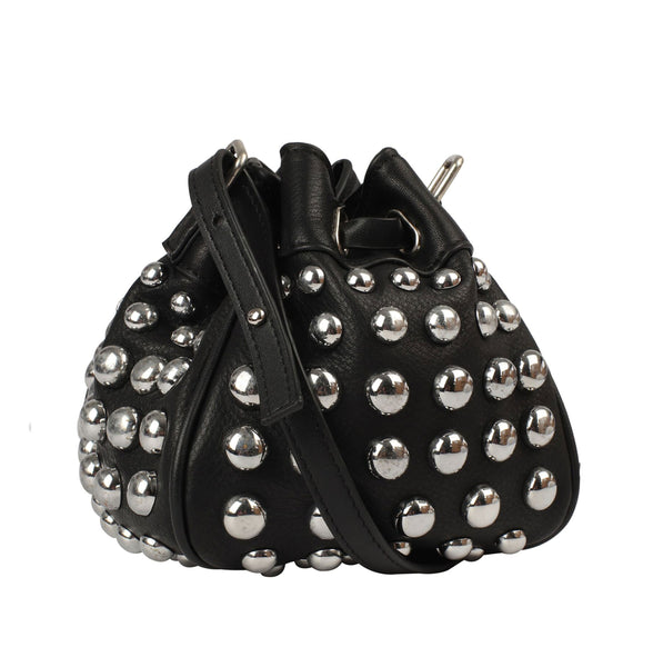 Small Studded Bucket Leather Bag