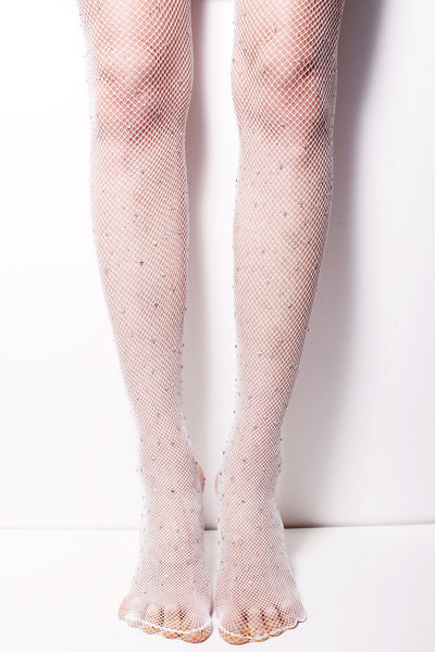 White Fishnet Embellished Stockings