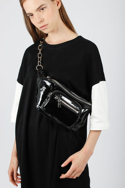 Patent Leather Chain Bum Bag