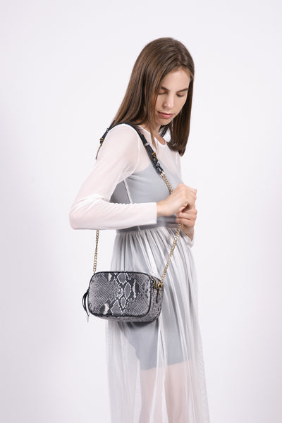 Leather Snakeskin Print Bag