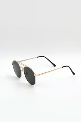 Gold-Rimmed Aviator Sunglasses