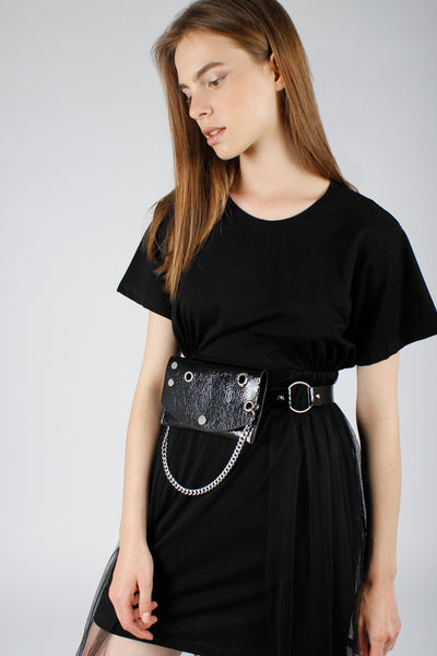Patent Belt Bag with Chain