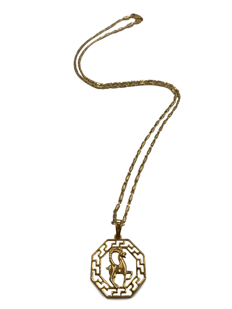 Gold Octagon Zodiac Pendant Necklace