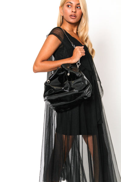 Leather Large Patent Shopper
