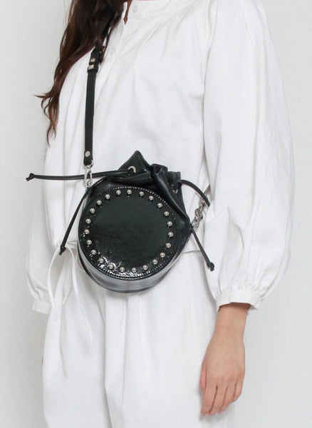 Baller Leather Bag with Patent RIng