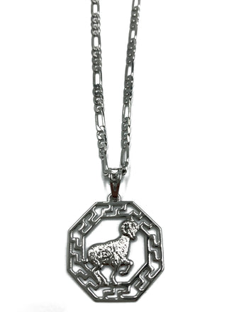 Silver Octagon Zodiac Pendant Necklace