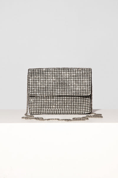 Silver Chrystal Envelope Bag