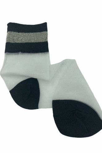 Striped Mesh Ankle Socks