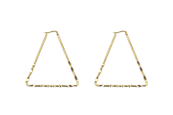 Large Gold Triangle Hoop Earrings