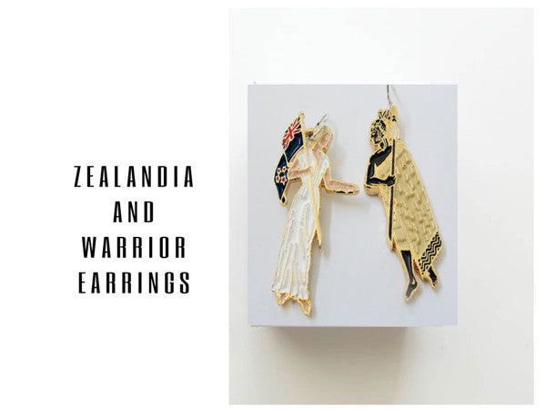Zealandia And Warrior Earrings - NZ-Designer-Jewellery, Tania Tupu - Tania-Tupu