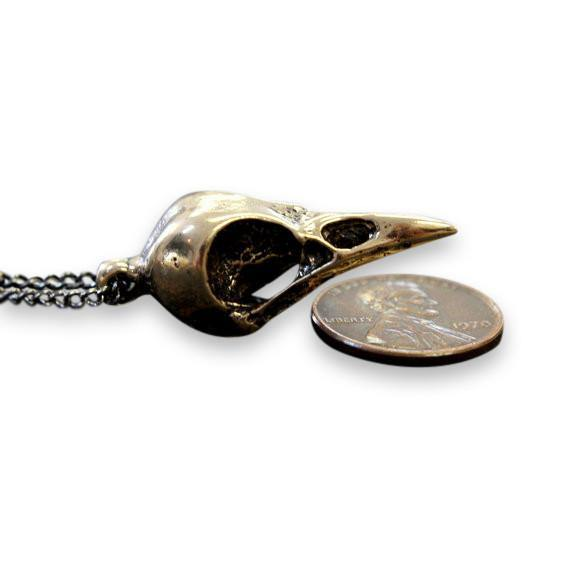 Crow Skull Pendant Necklace - Moon Raven Designs