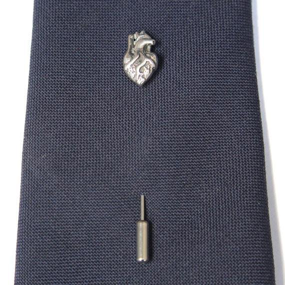 Tiny Anatomical Heart Ascot Stickpin - Moon Raven Designs