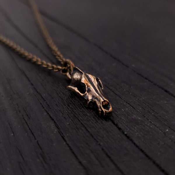Tiny Grey Wolf Skull Charm Necklace