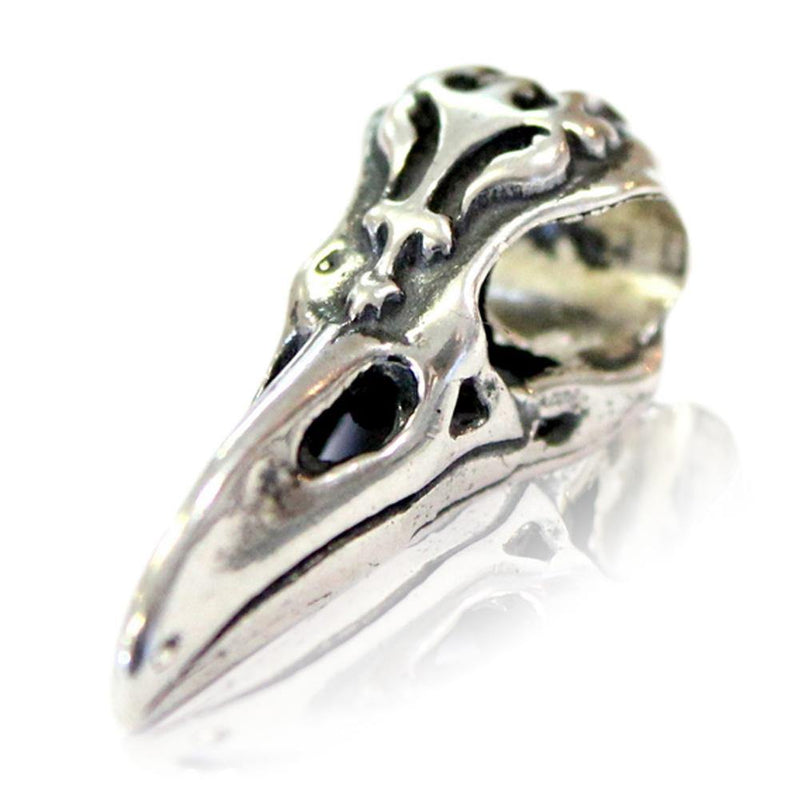 Raven Skull - 925 Sterling Silver European Style Charm Bead - Fits: Pandora, Chamilia & Compatible Brands - Moon Raven Designs
