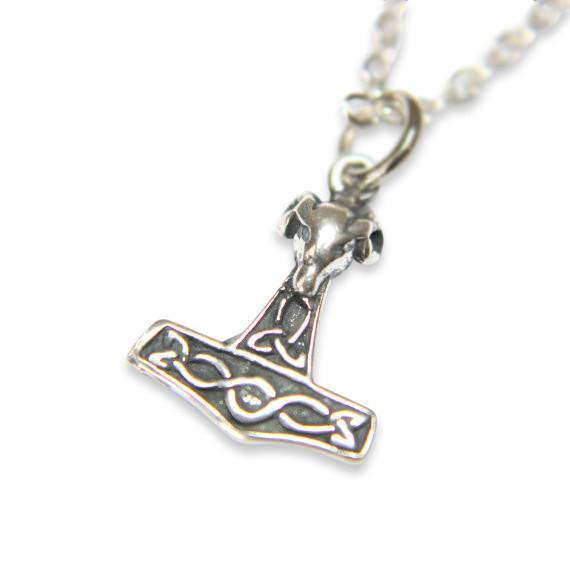 Tiny Mjolnir Rams Head Thors Hammer Necklace - Moon Raven Designs