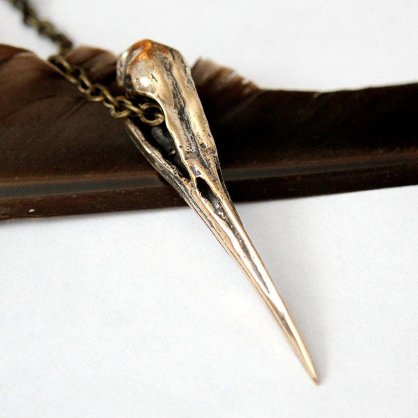 Heron Skull Pendant Necklace