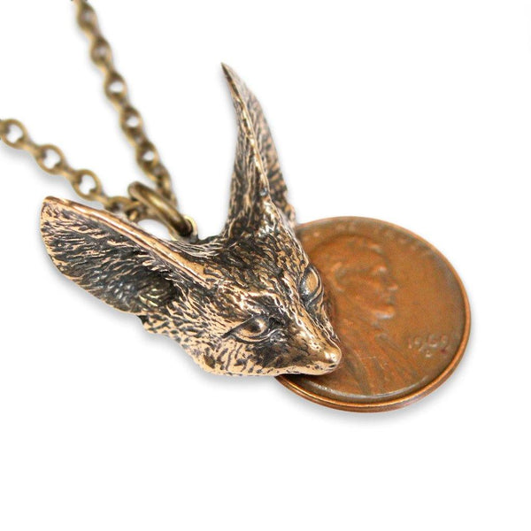 Fennec Fox Head Pendant Necklace