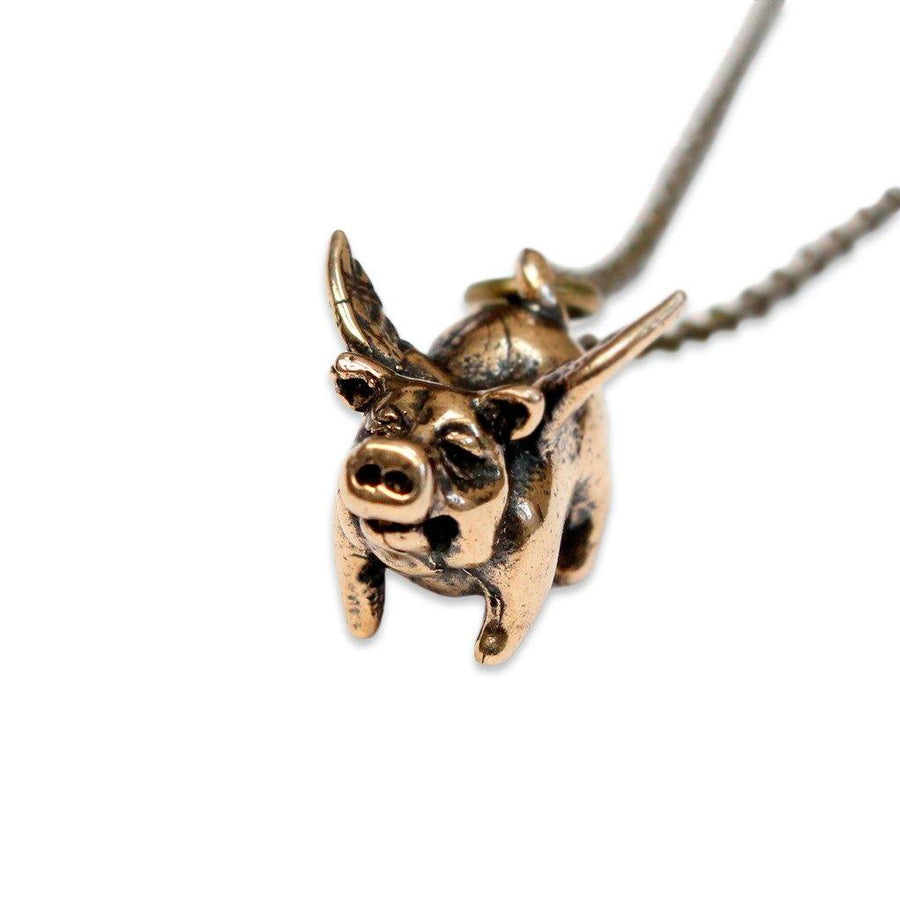 Lucky Flying Pig Pendant Necklace - Moon Raven Designs