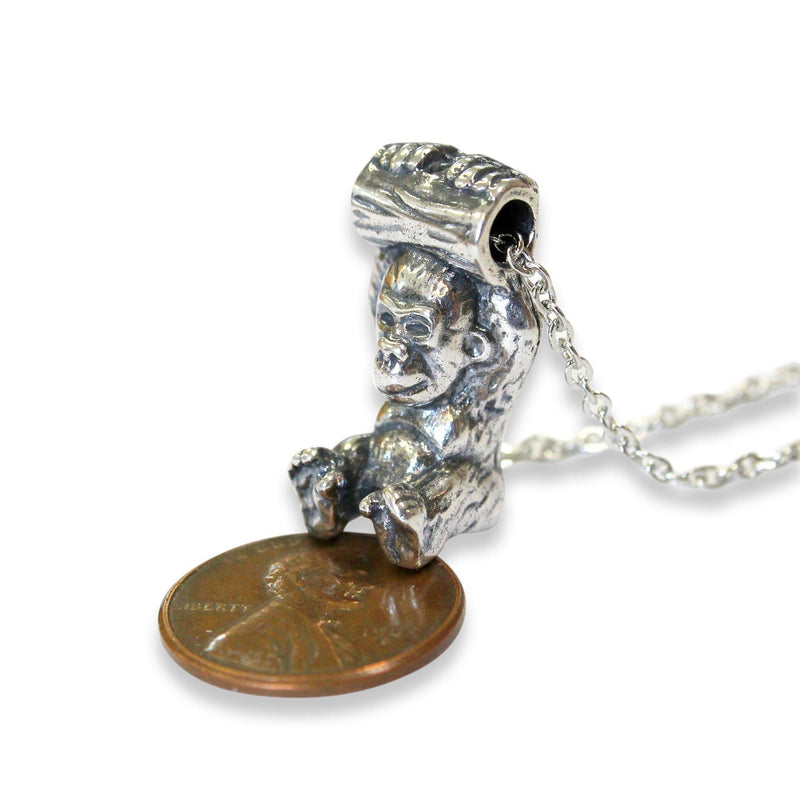 Silver Baby Gorilla Pendant Necklace - Moon Raven Designs